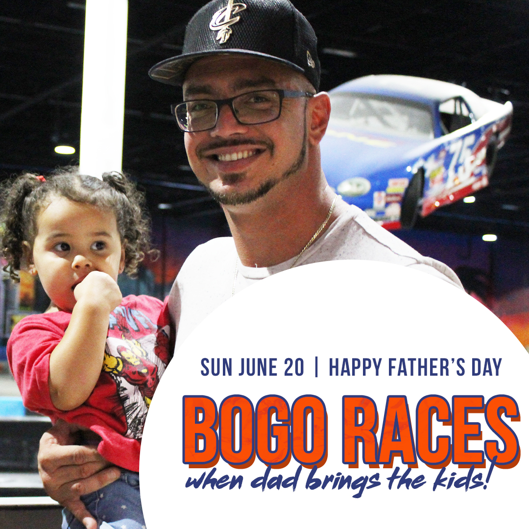 but one get one races for dad on father's day when they bring the kids square.