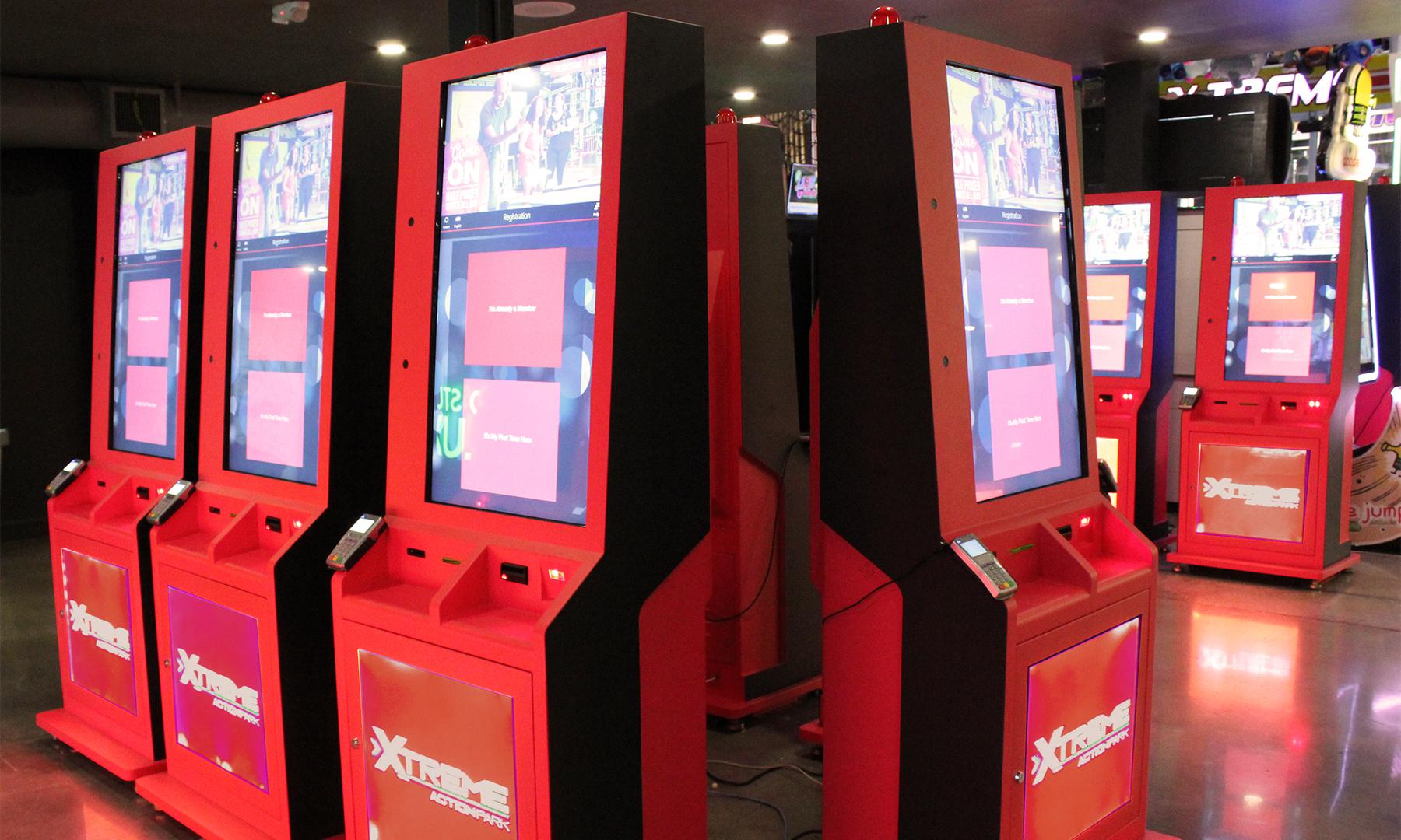 self serve kiosks at Xtreme Action Park