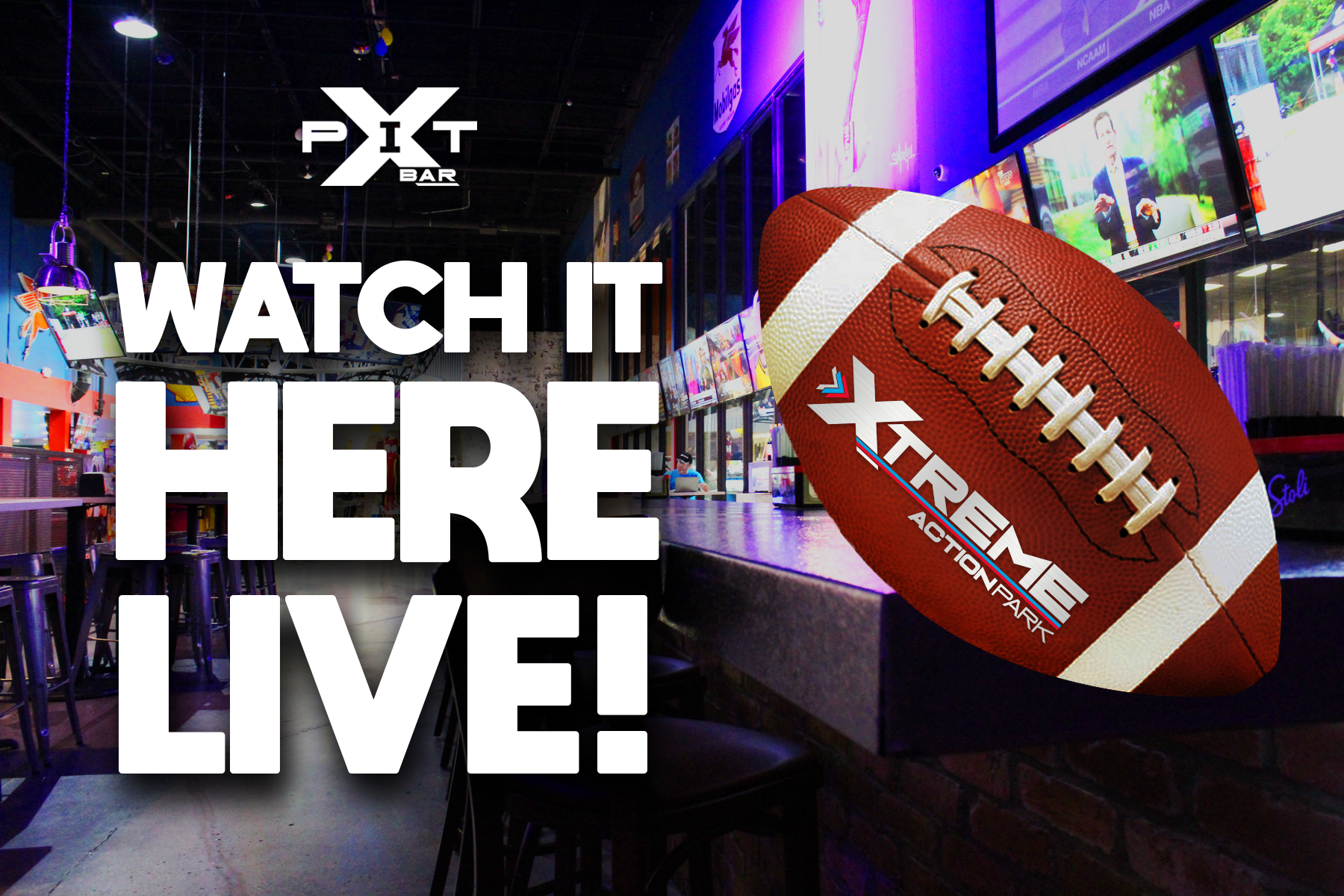 Watch Live Football Games at The Pit Bar