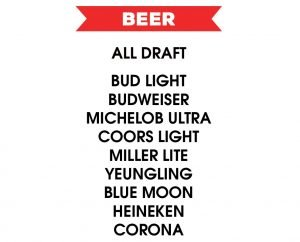 happy hour beer menu list