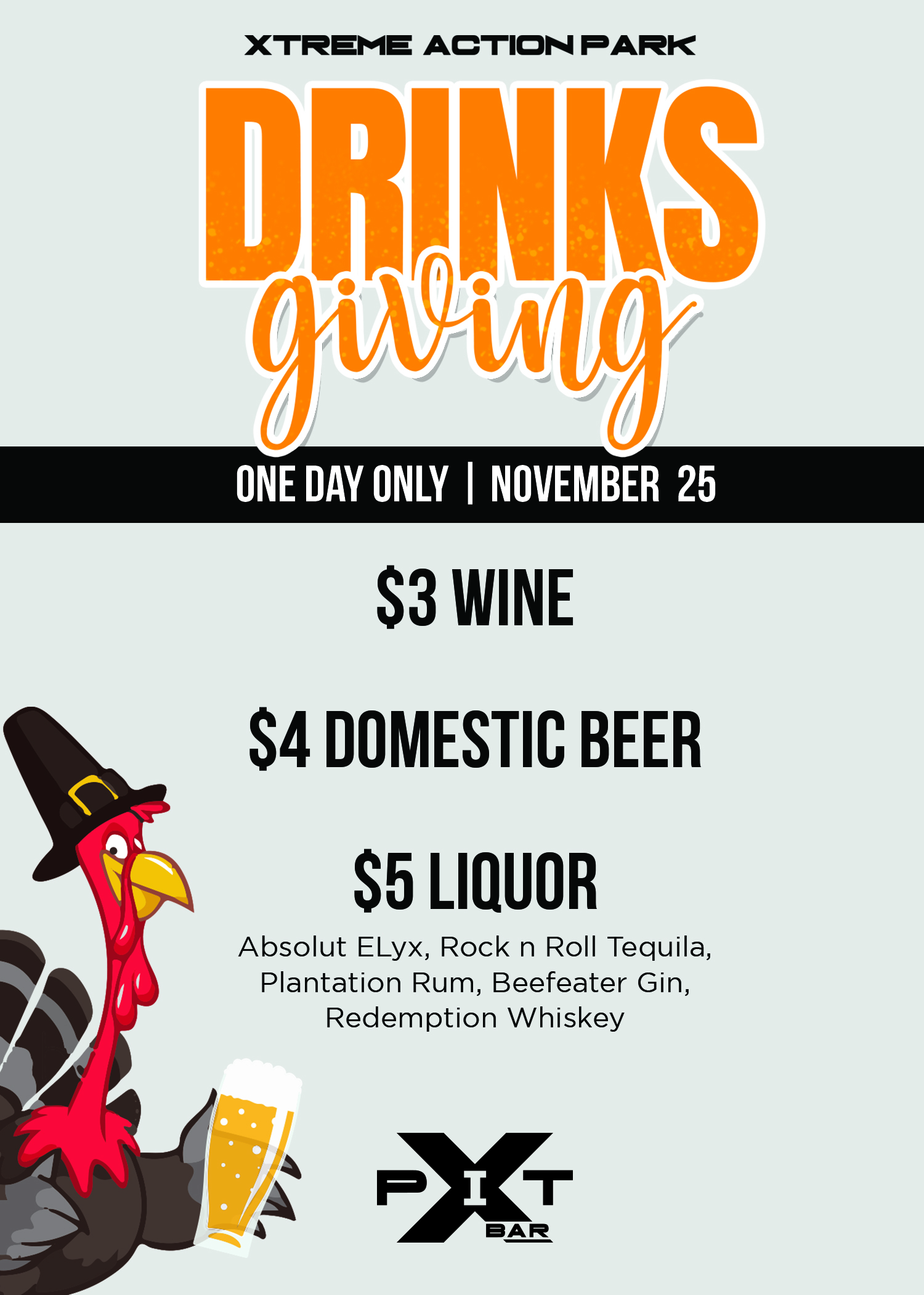 Drinksgiving only specials